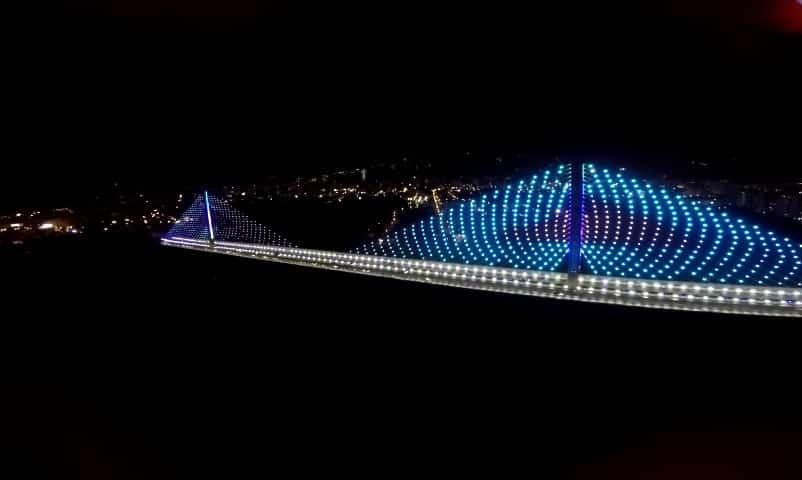 Drone Bucaramanga, Viaducto de la Novena en Bucaramanga visto desde un drone.