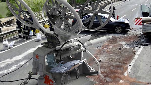 Similar a un auto pequeño, el drone ambulancia puede aterrizar en casi cualquier superficie