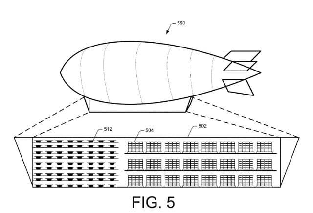 Gráfico de la patente del Dirigible de Amazon que muestra un modelo de cómo sería el centro de distribución aéreo.