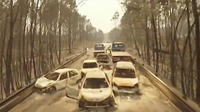 Incendio en Portugal: drone capta impactantes imágenes de este hecho.