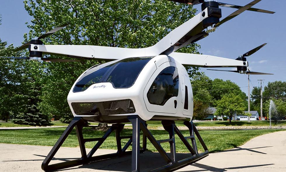El Taxi dron SureFly está diseñado para caber en un garaje convencional.