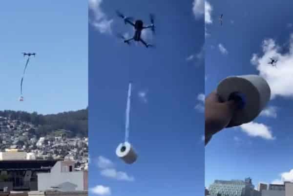 drones llevan papel higiénico coronavirus